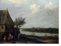 Постер Дом у реки (A Cottage by a River with a Distant View of a Castle)