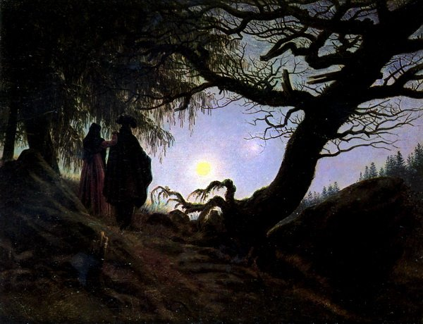 Мужчина и женщина созерцающие луну (Man and woman contemplating the moon)