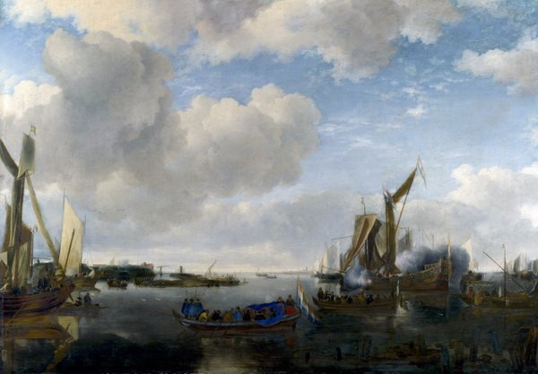 Салют на реке (A River Scene with a Dutch Yacht firing a Salute)