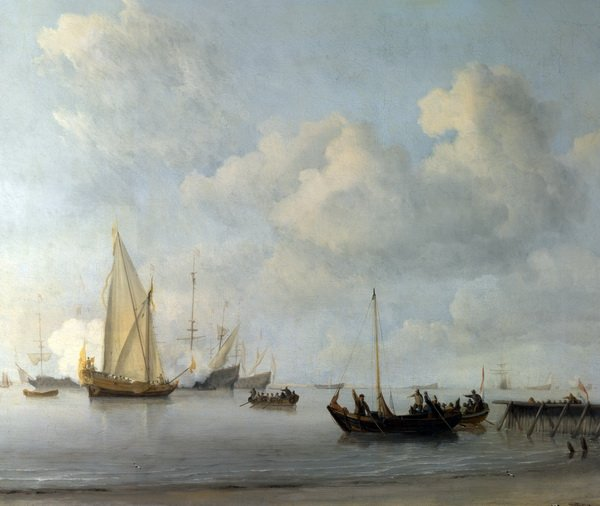 Лодки и яхта (Boats pulling out to a Yacht in a Calm)