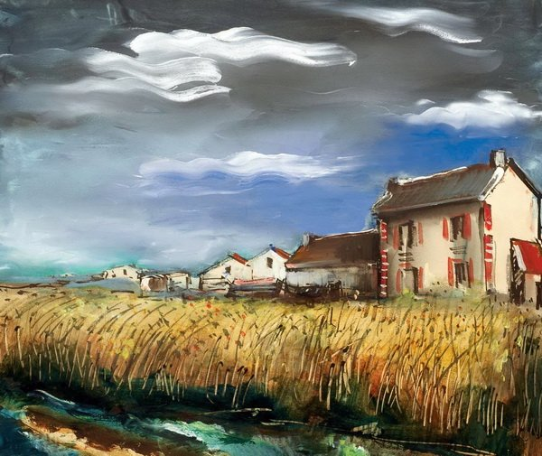 Поле пшеницы и дома (Wheat Field and Houses)