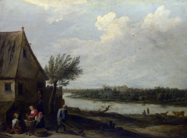 Дом у реки (A Cottage by a River with a Distant View of a Castle)