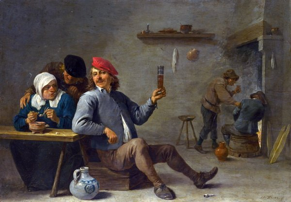 Человек держащий стакан и старуха с трубкой (A Man holding a Glass and an Old Woman lighting a Pipe)