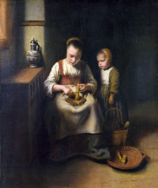 Женщина чистит пастернак (A Woman scraping Parsnips, with a Child standing by her)
