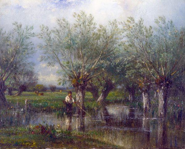 Ивы и рыбак (Willows, with a Man Fishing)