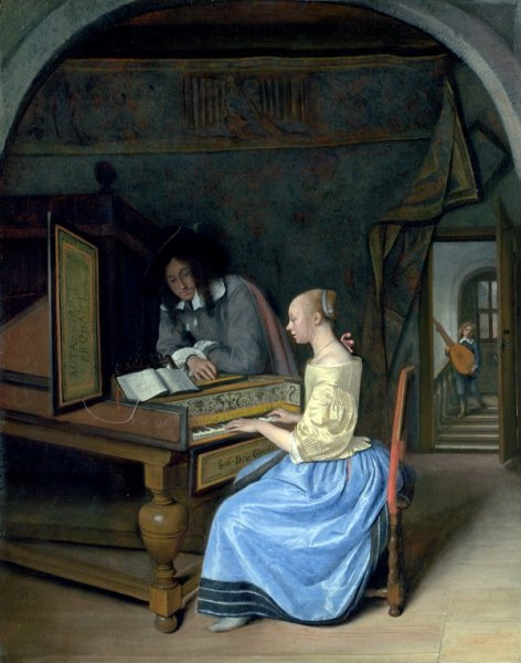 Женщина играет на клавесине ( A Young Woman playing a Harpsichord to a Young Man)