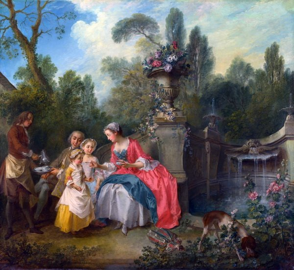 Дама в саду с детьми ( A Lady in a Garden taking Coffee with some Children)