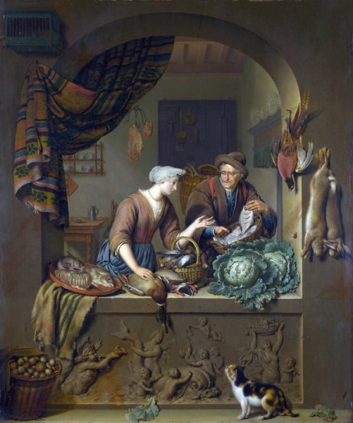 Женщина и рыбак на кухне (A Woman and a Fish-pedlar in a Kitchen)