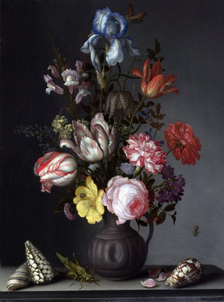 Цветы в вазе и насекомые (Flowers in a Vase with Shells and Insects)