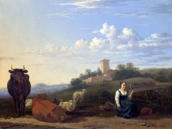 Женщина с домашним скотом (A Woman with Cattle and Sheep in an Italian Landscape)