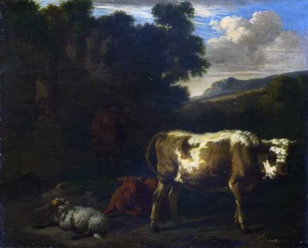 Телята,, овцы и лошади на (Two Calves, a Sheep and a Dun Horse by a Ruin)руинах