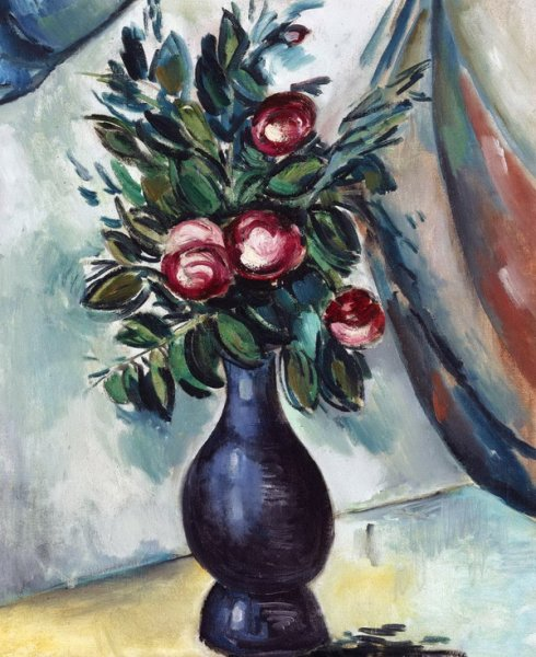 Букет пионов в синей вазе (Bouquet of Peonies in Blue Vase)
