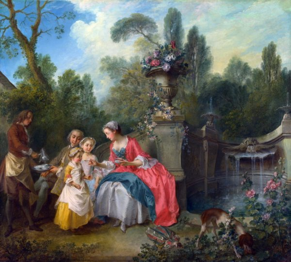 Леди с Кофе и ребенок (A Lady in a Garden taking Coffee with some Children)