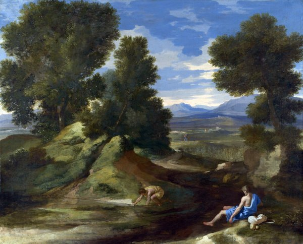 Пейзаж с людьми у ручья ( Landscape with a Man scooping Water from a Stream)