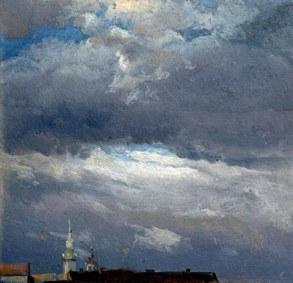 Грозовые облака над башней замка в Дрездене (Storm clouds over the tower of the castle in Dresden)