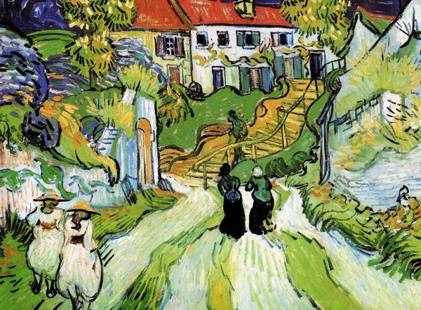 Деревенская улица в Овере с двумя фигурами (Village Street and Steps in Auvers with Two Figures)