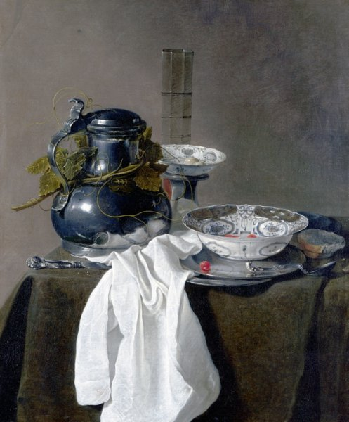 Натюрморт с оловянным кувшином и двумя мисками (Still Life with a Pewter Flagon and Two Ming Bowls)