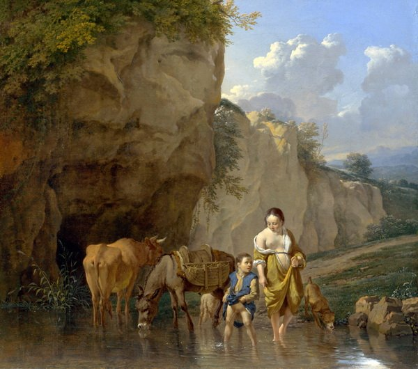 Женщина и мальчик с животными (A Woman and a Boy with Animals at a Ford)