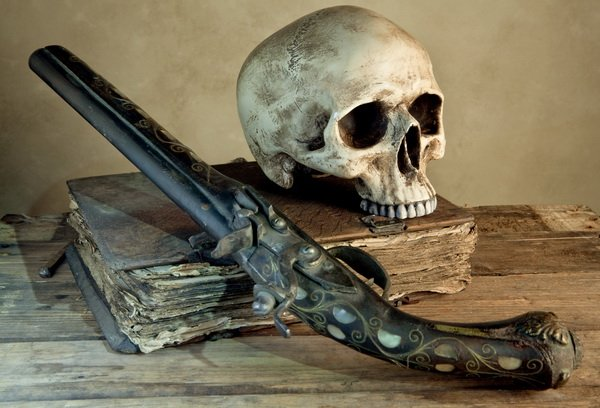 Натюрморт с ружьем и черепом (Still life with a gun and a skull)
