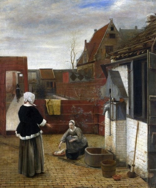 Женщина и ее горничная во дворе (A Woman and her Maid in a Courtyard)