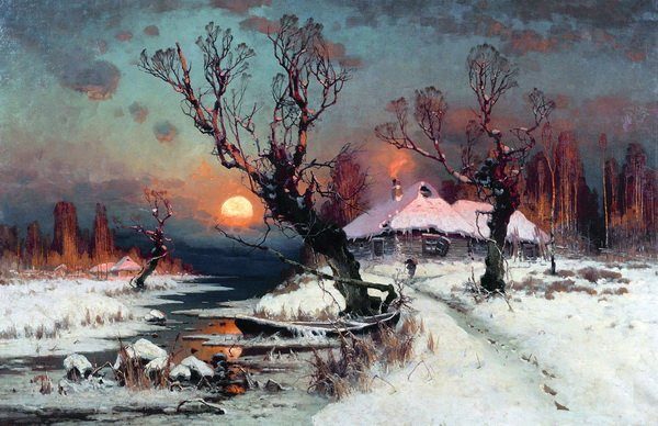 Закат солнца зимой (Sunset in the winter)