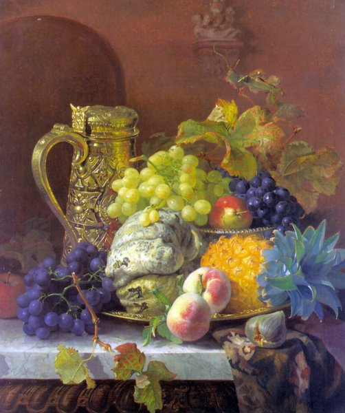 Фрукты и серебряный кувшин на подносе ( Fruits on a tray with a silver flagon on a marble ledge)