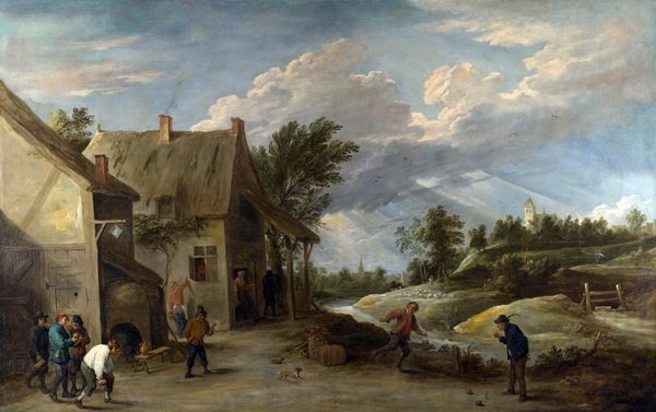 Крестьяне играют (Peasants playing Bowls outside a Village Inn)