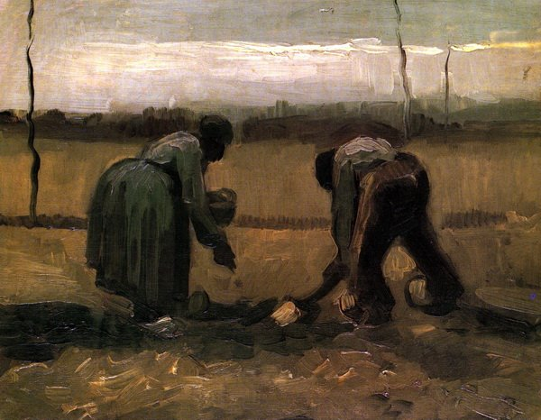 Крестьянин с крестьянкой сажают картофель (Peasant and Peasant Woman Planting Potatoes)