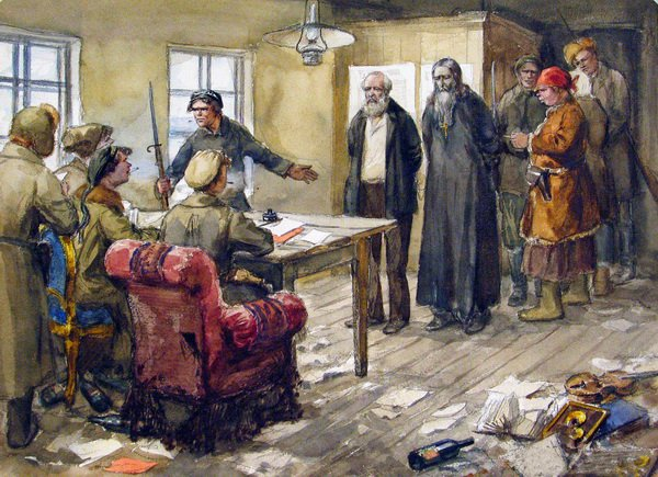 Большевисткий суд над местным помещиком и священником (Bolshevistky trial of the local landowner and priest)