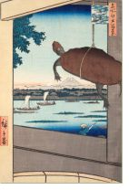 Постер Вид на мост (1857) (Mannen Bridge, Fukagawa, from the series One Hundred Famous Views of Edo)