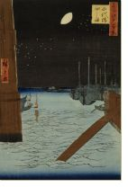 Постер Луна над судами (1857) (Moon over Ships Moored at Tsukuda Island from Eitai Bridge)