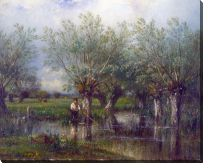 Картина Ивы и рыбак (Willows, with a Man Fishing)