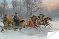 Плакат Господа на санях (Gentlemen on a Sleigh Ride)
