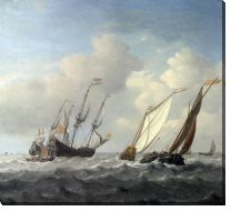 Картина Голландский корабль, яхта и малые суда (A Dutch Ship, a Yacht and Smaller Vessels in a Breeze)