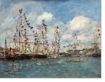 Постер Лодки, украшенные флагами в порту Довиль (1895) (Boats Decorated with Flags in the Port of Deauville (Bateaux pavoisés dans le bassin, Deauville))