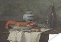 Плакат Натюрморт с омаром на белой скатерти (1853-1861) (Still Life with Lobster on a White Tablecloth (Nature Morte Au Homard Sur un Nappe Blanche))