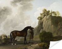 Плакат Маркиз Рокингем с жеребцом (1780) (The Marquess of Rockingham's Arabian Stallion (led by a Groom at Creswell Crags))