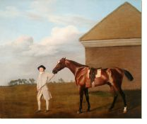 Постер Тренер с лошадью (1773) (Firetail with his Trainer by the Rubbing-Down House on Newmarket Heath)