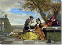 Картина Двое мужчин и женщина ( Two Men and a Young Woman making Music on a Terrace)