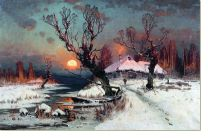 Постер Закат солнца зимой (Sunset in the winter)