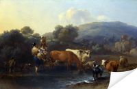 Плакат Крестьяне с Рогатым скотом, переходящим в брод Поток (Peasants with Cattle fording a Stream)
