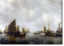 Картина Голландские суда в штиль (A River Scene with Dutch Vessels Becalmed)