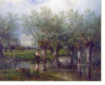 Постер Ивы и рыбак (Willows, with a Man Fishing)