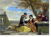 Постер Двое мужчин и женщина ( Two Men and a Young Woman making Music on a Terrace)