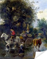 Плакат Пастух с лошадью и телегой (A Cowherd passing a Horse and Cart in a Stream)
