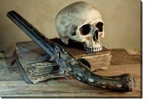 Картина Натюрморт с ружьем и черепом (Still life with a gun and a skull)