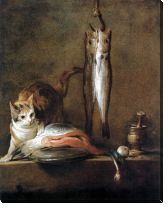 Картина Натюрморт с кошкой и рыбами (Still life with cat and fish)