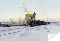 Плакат На полустанке. Зимнее утро на Уральской железной дороге (At the station. Winter morning at the Ural Railroad)