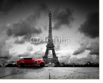 Постер Effel Tower, Paris, France and retro red car. Black and white