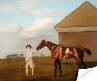 Плакат Тренер с лошадью (1773) (Firetail with his Trainer by the Rubbing-Down House on Newmarket Heath)